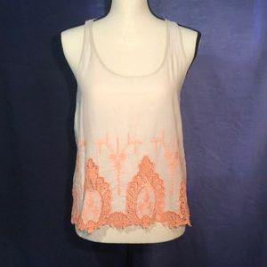HAVE Linen Crop Tank Top with embroidery lace
